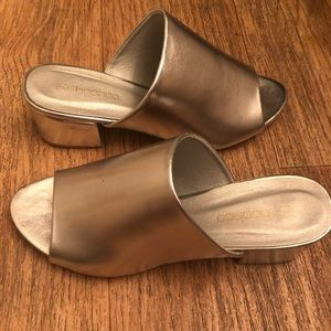 barely used metallic mules